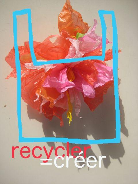 Fleur rouge sac plast