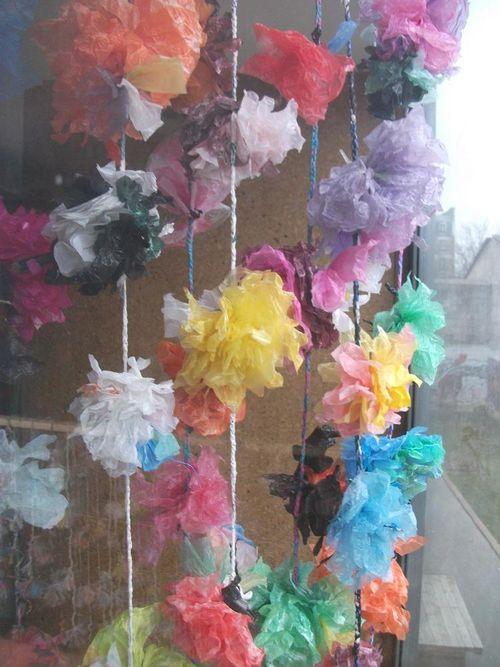Rideau fleurs maison